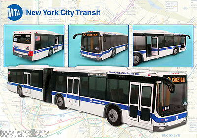"""NYC New York City Mta Metro Articulated Hybrid Electric Bus 1:43 Scale 16"""" Long"""