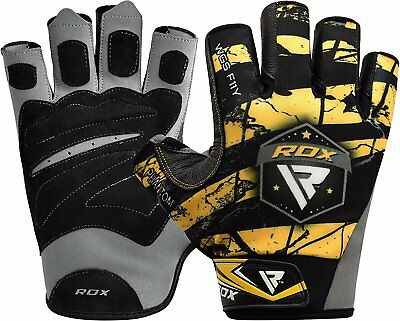 RDX Weight lifting Body Building Wrist Crossfit Gym Gloves Grip Training Fitness