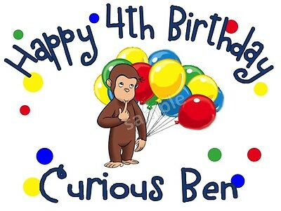 Curious George Personalized Birthday T-shirt Custom Tee