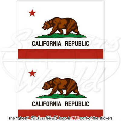 "CALIFORNIA State Bear Flag USA America 3""(75mm) Vinyl Bumper Stickers, Decals x2"
