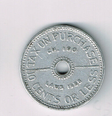 State Of Washington 1935 10 Cents Or Less Tax Token (Td-153)