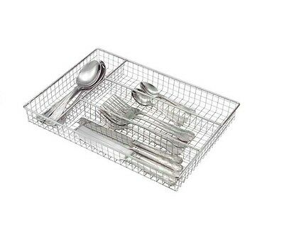 Metal Chrome Cutlery Tray Holder Drawer Organiser Caddy Storage Kitchen Utensil
