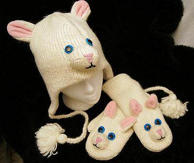HAT + MITTENS SET Adult  CUTE WHITE KITTY CAT animal ski FLEECE LINED soft warm