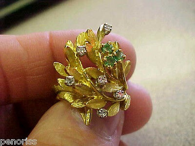 Beautiful 18k Gold  Emerald & Diamond Estate Ring    Make Offer