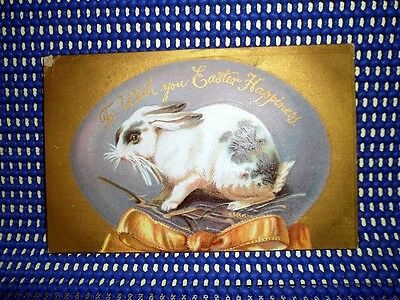 L- Early 1900s Vintage EASTER Post Card  Bunny Large Egg