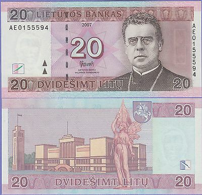 "Lithuania 20 Litu Banknote 2007 Uncirculated Condition Cat#69-5594""Priest"""