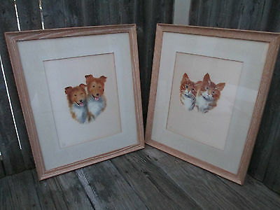 Pair of Dog Cat Tabby Collie Oil on Satin Paintings VTG F. Brighton Kitten Puppy