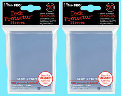 100 Ultra Pro CLEAR DECK PROTECTOR Standard Size Card Sleeves NEW mtg ccg magic