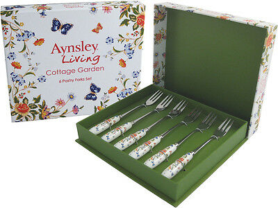 AYNSLEY COTTAGE GARDEN CUTLERY 6 PASTRY/CAKE FORKS - GIFT BOXED