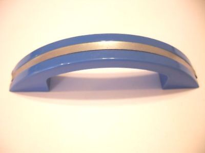 Vintage NOS 1950's 1960's DRAWER Pulls BLUE Plastic Chrome Strip Art Deco