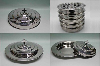 Silvertone--5 Stainless Steel communion trays with 1 lid and 3 bread tray set