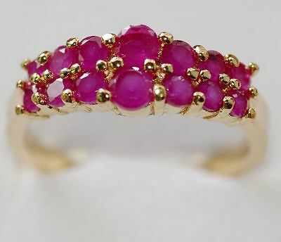 Gorgeous!natural Gem Red Ruby Sterling 925 Silver Ring Size 5:6:7:8 Gold Plated