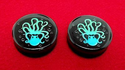 "Popular Big Size Double Flared Octopus Logo Solid Black Plugs( 1-1/8 To 2""inch )"