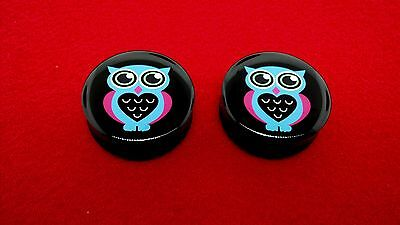 "Popular Big Size Double Flared""Blue Owl"" Logo Solid Black Plugs(1-1/8 To 2""inch)"