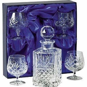 Square Hand Cut Lead Crystal Decanter + 4 Brandy Glasses in Presentation Box