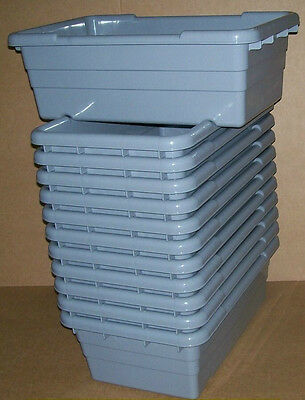 Qty (12) - Gray Plastic Lug / Tote For Meat - Sausage - Bulk Food