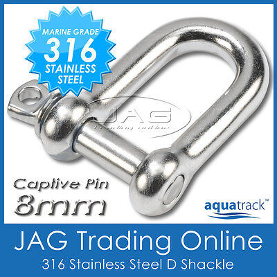 8mm 316 STAINLESS STEEL CAPTIVE PIN DEE D-SHACKLE M8 - Marine/Boat/Shade/Sail