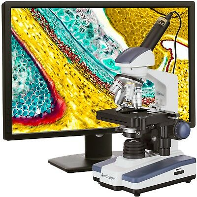 AmScope 40X-2500X LED Digital Monocular Compound Microscope w 3D Stage +1.3MP Ca
