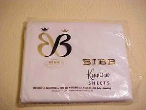 Vintage Bibb Kennesaw Flat Sheet 81 X 108 White in Original Pkg