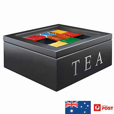 Wooden Tea Storage Box Container with Top - 9 Compartments - Black