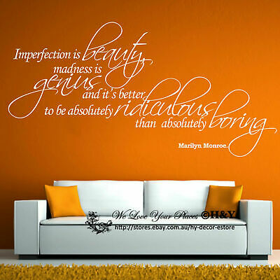Removable Wall Art Quotes Vinyl Decal Stickers Decor ~ Imperfection is Beauty ~