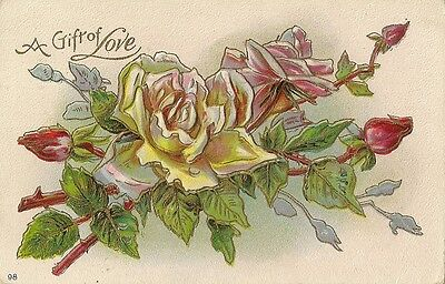 Carte Postale Fantaisie Gaufree Usa A Gift Of Love Roses Flowers