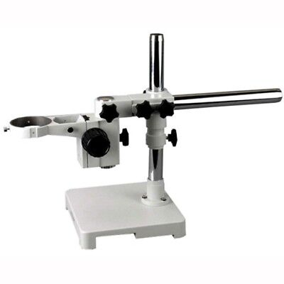 White Single Arm Boom Stand for Stereo Microscope Tube Mount 76mm Focus Block