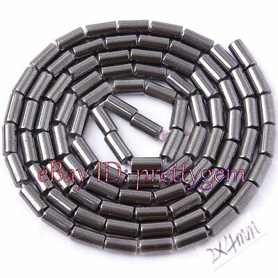 "2 X 4MM SMOOTH COLUMN SHAPE HEMATITE GEMSTONE BEADS STRAND 15""(NO MAGNETIC)"
