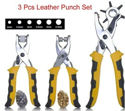 3 Pcs Leather Punch Set Eyelet Snap Pliers w/ extra 100 Eyelets & 100 Buttons