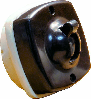 Britmac Brown Bakelite & White Ceramic Toggle Switch 1Way Recessed Low Profile