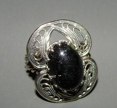 Vintage Rings - filigree ring design with oval stone on double twisted band.