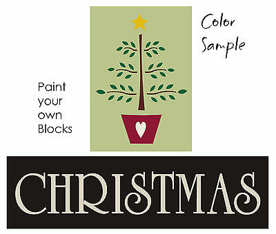 STENCIL Christmas Country Primitive Feather Tree Star Holiday Family Sign Blocks