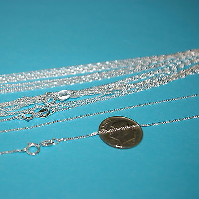 "10 pcs 16.5"" 42cm Diamond Cut Sterling Silver 925 1mm FIGARO CHAIN NECKLACES Lot"