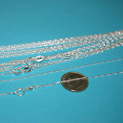 "10 pcs 18"" 45cm Diamond Cut Sterling Silver 925 1mm FIGARO CHAIN NECKLACES Lot"