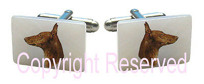 Italian Greyhound Dog Natural Shell Mother Of Pearl Cufflinks + Gift Box SCS87