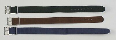 NYLON MILITARY WATCH STRAP 8mm - 20mm black blue brown fabric canvas band divers