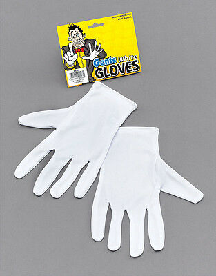 White Magicians or Clown Gloves Fancy Dress Accessory Wizard Prop Adult Unisex