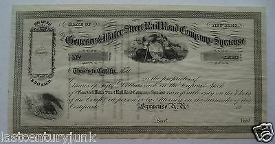 Stock Certificate For Genesee & Water Street Railroad Co Syracuse New York 1800s