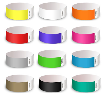 100 x Tyvek, event, party, security, wristbands.   Available in 12 colours