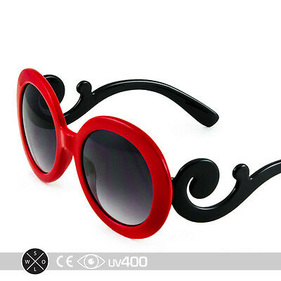 Red Children Baroque Swirl Stylish Child Kids Sunglasses Free Case K005