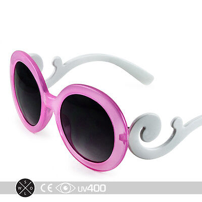 Pink Children Baroque Swirl Stylish Child Kids Sunglasses Free Case K005