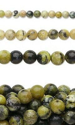 Lot of 10, 16 inch Long Strands of Round Yellow Turquoise Natural Gemstone Beads