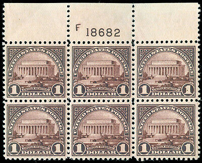 momen: US Stamps #571 Mint NH OG Plate Block of 6 XF