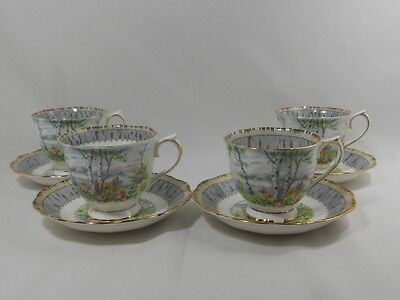 Royal Albert Silver Birch Set of 4 Cups and Saucers