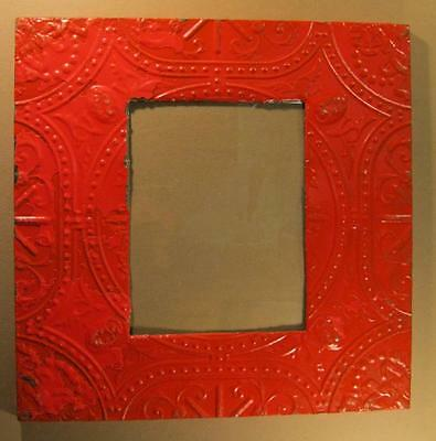 Antique TIN CEILING Metal 11x14 RED Picture Frame Shabby Recycled #1493-13