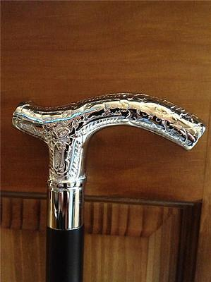Quality Gothic Victorian Classic Style Cane Chrome Crutch Walking Stick Weddings
