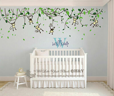 Custom Personalised Name Monkey Vine Wall Art Stickers Kids Nursery Vinyl Decals