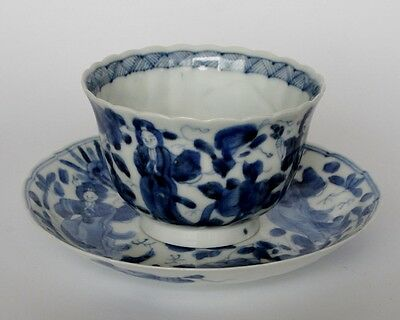 A beautifull Japanese porcelain blue and white cup and saucer ...