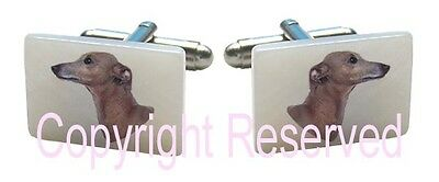 Greyhound Dog Natural Shell Mother Of Pearl Square Cufflinks + Gift Box SCS244
