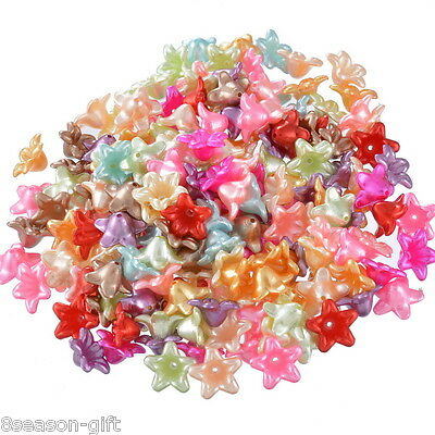 """200PCs Mixed Flower Acrylic Spacer Beads 13x13mm(4/8""""x4/8"""")"""